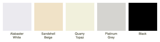 Alabaster White, Sandshell Beige, Quarry Topaz, Platinum Grey, Black